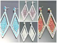 Elegant Diamante Diamond Shape Style Crystal Chandelier Dangle Earrings