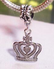 Princess Crown Queen Royalty Dangle Bead for Silver European Charm Bracelets