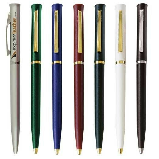 300 Custom Printed Plastic Twist Pen with Gold or Silver Trim - Free Shipping