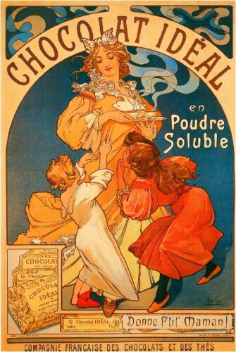 Early 1900/'s French Chocolat Ideal Food /& Wine Advertisement Art Poster Print