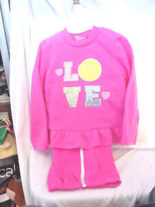 2-B-REAL-SIZE-4-T-GIRL-039-S-2-PIECE-FLEECE-PANTS-SET-PINK-LONG-SLEEVE