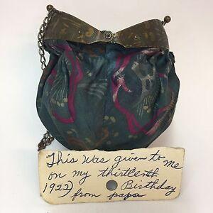 1922-Cloth-Coin-Purse-Chain-Handle-Ocean-Sea-Life-Frame-Knob-Handle-Provenance