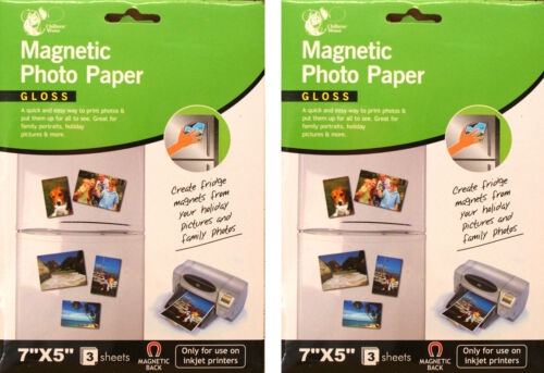 """2 x Gloss Magnetic Backed 7/""""x 5/"""" Photo Paper Inkjet Printers 3 Sheet Pack CW1039"""