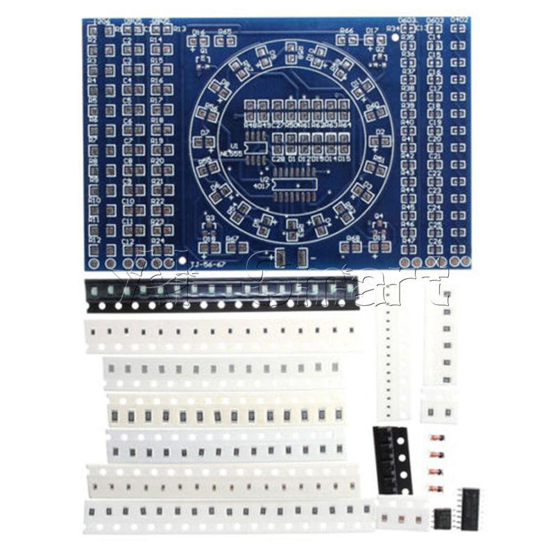 SMD LED ROTANTE CD4017 NE555 saldatura pratica Board Abilità Set Fai da Te di formazione