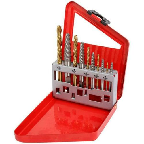 10PC EASY OUT SCREW EXTRACTOR SET WITH LEFT HAND COBALT DRILL BITS BROKEN BOLTS