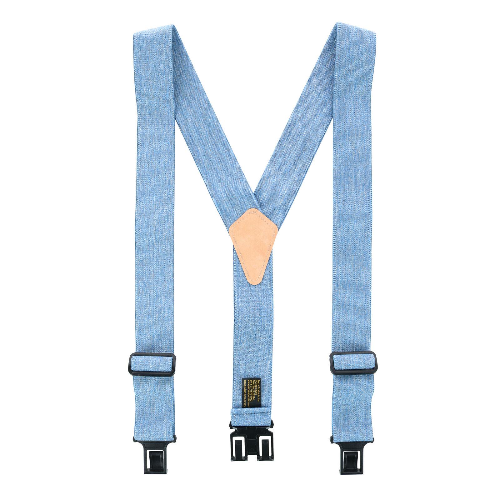 Neu Perry Suspenders Herren Denim Blau Elastisch Haken Ende Hosenträger