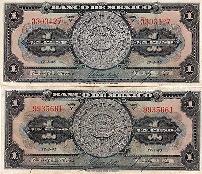 Pick:m4635 38c h Candid Vf-xf 1945 Banco De México 1 Peso Aztec Calendar Serie Y