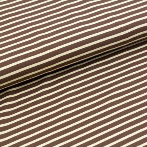 BIO-JERSEY Stoffonkel Streifen braun beige