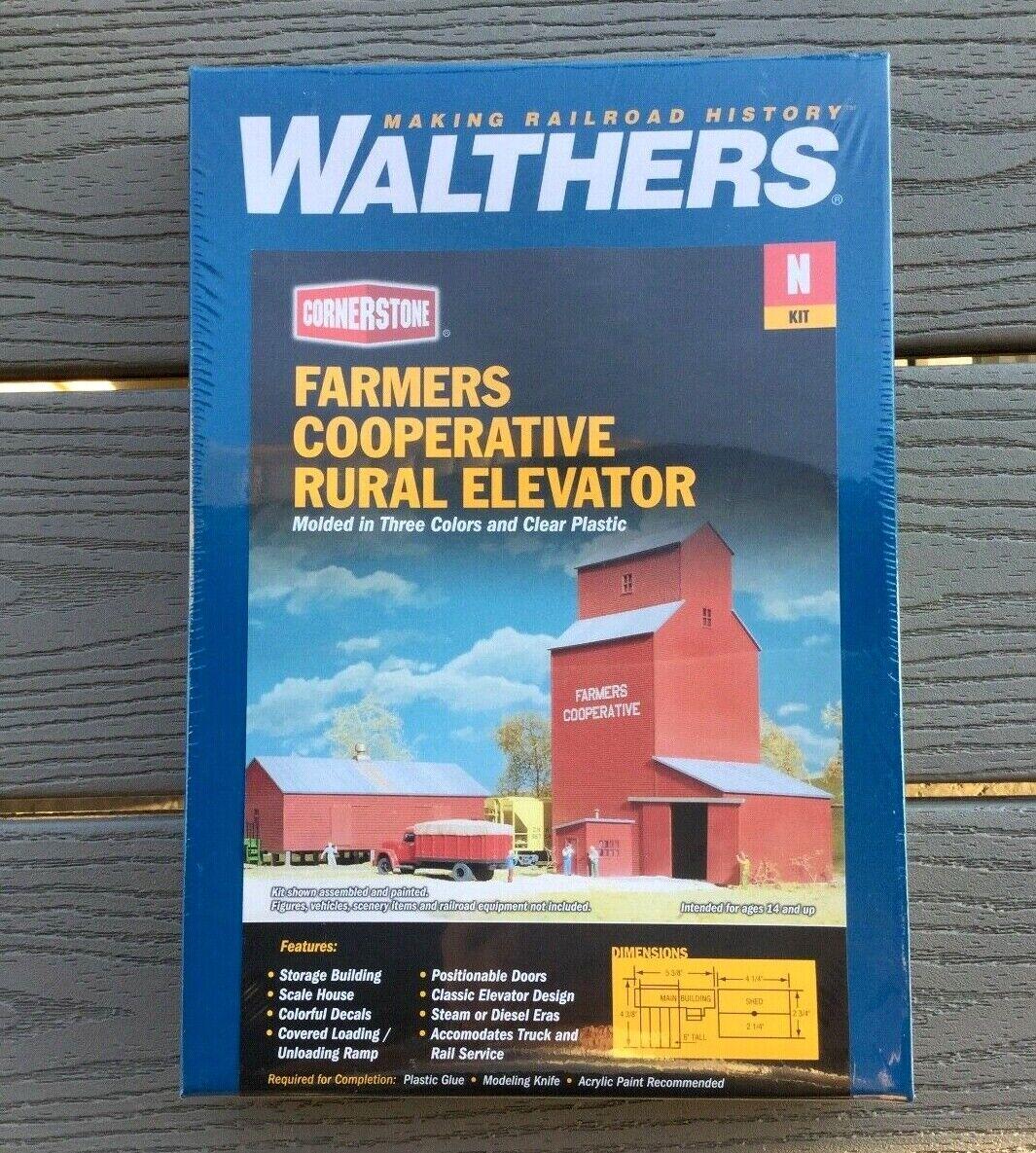WALTHERS 1 160 N SCALE CORNERSTONE FARMERS CO-OP RURAL GRAIN ELEVATOR 933-3238