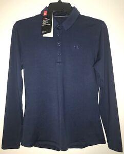 Under Armour HeatGear Loose Polo short sleeve shirt//top women sz S SMALL blue