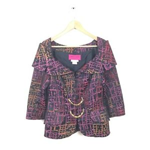 Christian-Lacroix-Jacket-36-VTG-Purple-Pink-Multi-Printed-Gold-Chain-Coat-2-795
