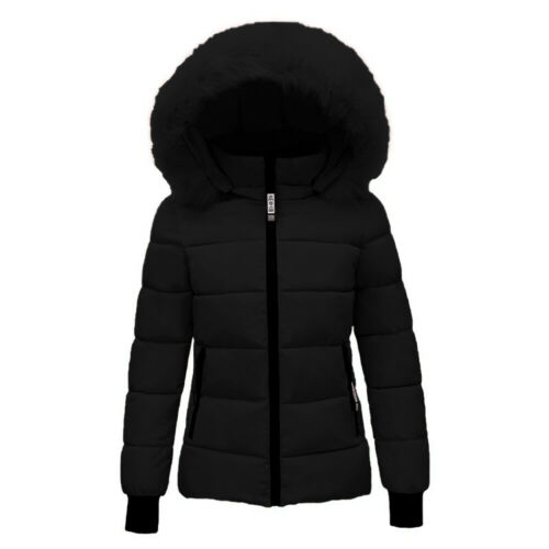 Womens Faux Fur Hooded Jacket Quilted Padded Winter Warm Puffer Coat Parka New