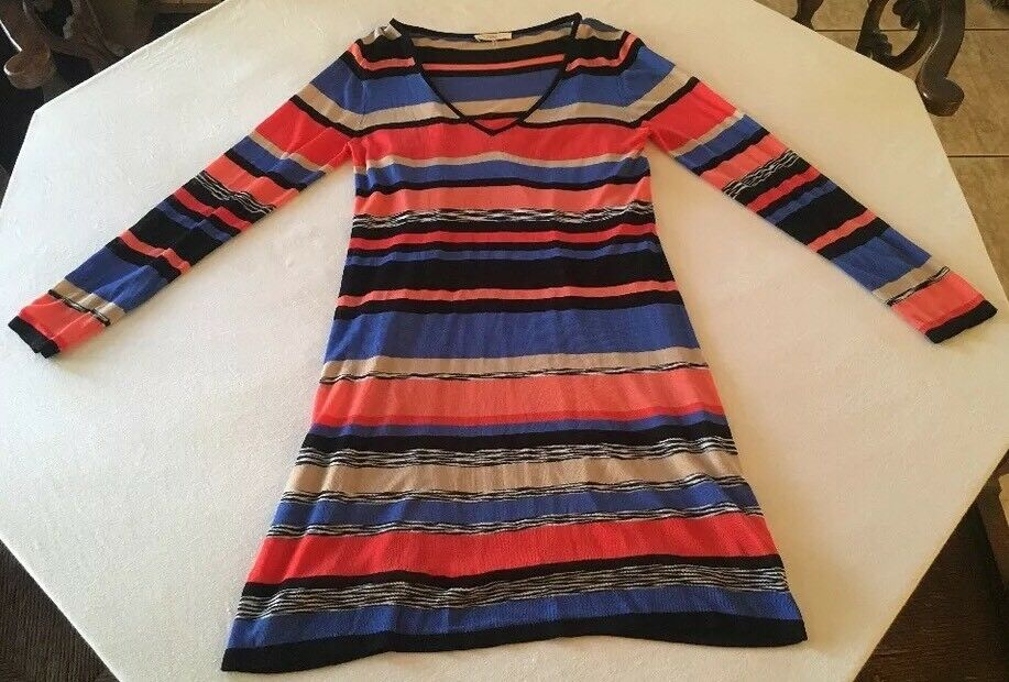 Authentic Trina By Trina Turk Womens Medium Striped Knit Dress Southwest colors