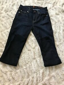 7-For-All-Mankind-Mid-Rise-Ankle-Skinny-Jeans-Size-26-Medium-Dark-Wash-stretchy