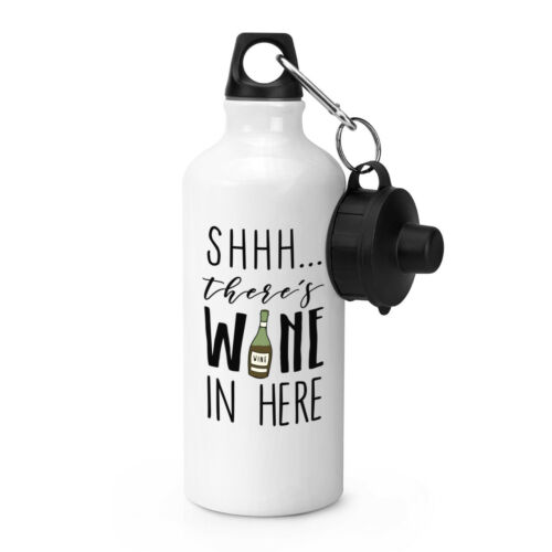 Funny Shhh There/'s Wine In Here Red Sports Drinks Water Bottle
