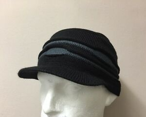 Image is loading new-black-Mens-peaked-Beanie-Hat-cap-Knitted- 82a3068a4b9