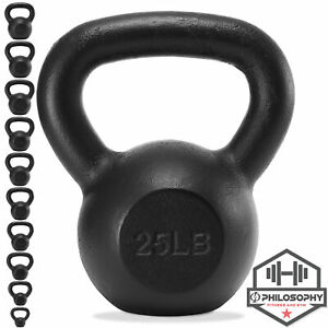 Cast Iron Kettlebell, 5 lb to 50 Pounds for Weight Lifting Workout