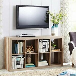 Image Is Loading Cube Storage Unit Wooden 8 Cubby Organizer Shelves