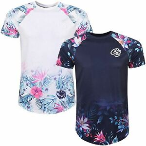 Crosshatch-Mens-Short-Sleeve-Floral-Flower-Printed-Sleeve-Crew-Neck-T-Shirt-Top