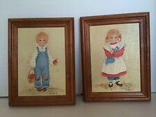 Country Boy Girl Oil On Canvas Framed Art Signed 1984