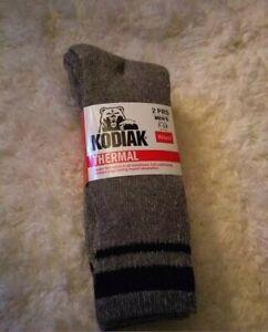 NEW-Men-039-s-Kodiak-Thermal-Wool-Socks-2-Pairs-Shoe-Size-7-12-Grey-amp-Black-stripes