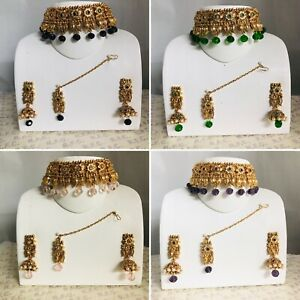 bd19cb730f458 Details about Gold black green purple pink choker necklace jhumka earring  tikka indian bridal