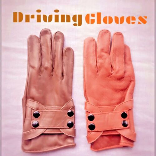 REAL SOFT LEATHER MEN TOP QUALITY DRIVING 4 BUTTON GLOVES BROWN//TAN