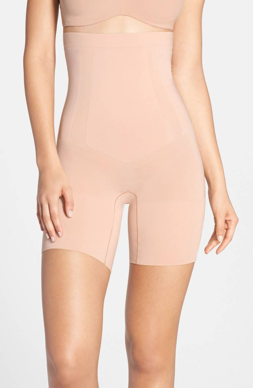 NEW SPANX  SOFT NUDE ONCORE HIGH-WAIST MID-THIGH SHORT BODYSUIT   L  72
