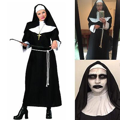 Adult Womens Black Habit Nun Halloween Cosplay Costume Collar Habit Headpiece