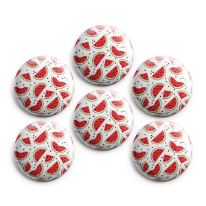 1-inch Magnets Pinback Buttons Badges Set of 6 WATERMELONS
