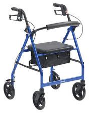 """Drive Blue Folding Rollator Seat 6"""" Wheels Walker Walking Frame Mobility Aid"""
