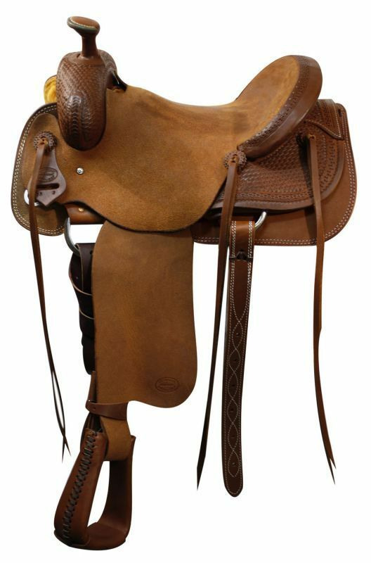 Showman 16  Western ROPING SADDLE with Basket Weave Skirts & Pommel Warrantied