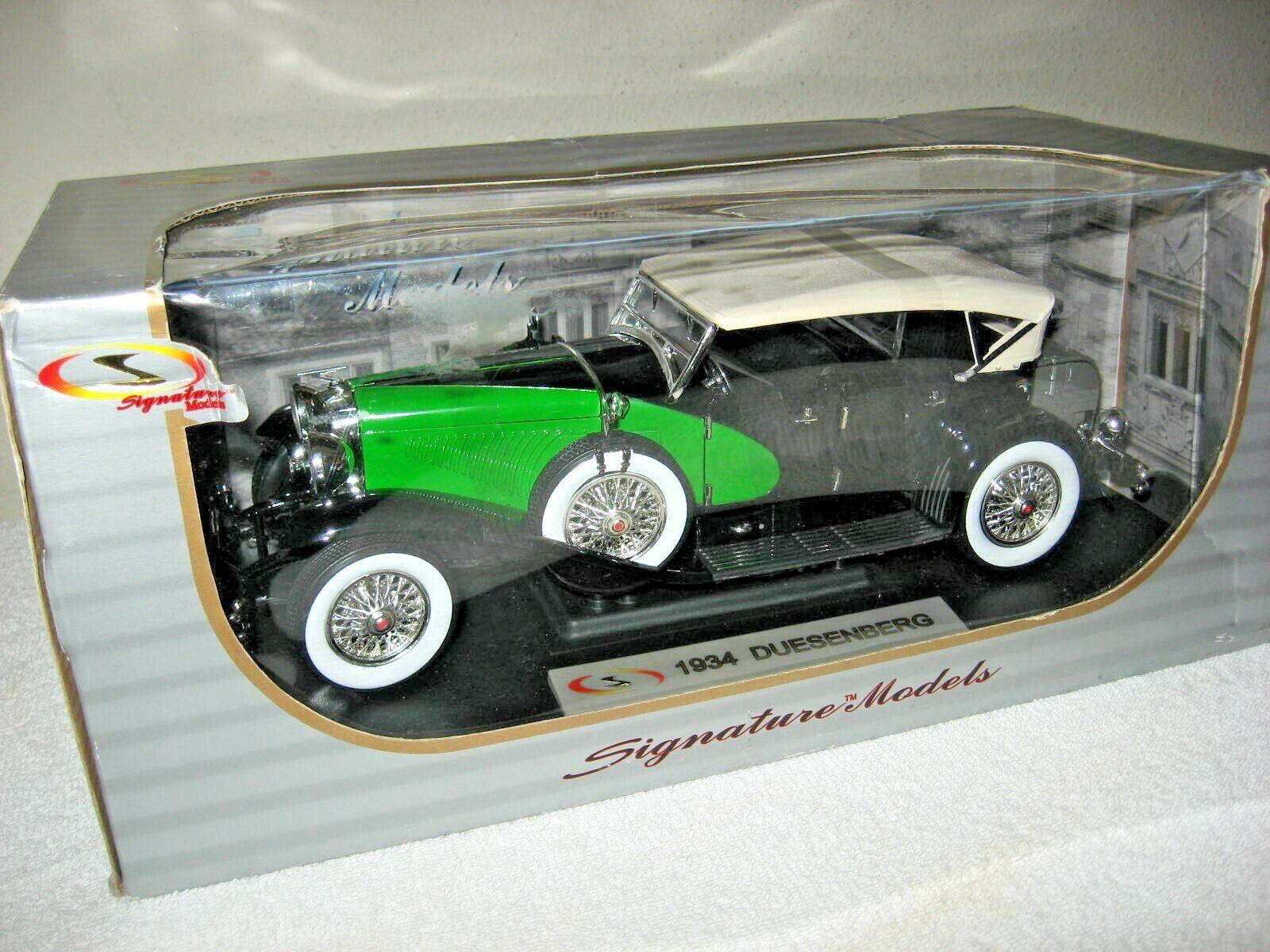 1934 Duesenberg noir vert ouverture portes & Capuche 1  18 Modèles Signature  obtenir la dernière
