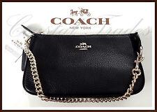Coach F53340 Leather Large 19 Wristlet Phone Clutch Bag Satchel Black Gold