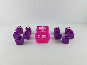 Lot-of-10-Purple-Shopkins-Mini-Bags-and-2-Shopkins-Shopping-Baskets-Accessories