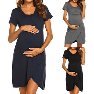 26669a0bb2d Image is loading Pregnant-Womens-Maternity-Nursing-Breastfeeding-Short -Sleeve-Casual-