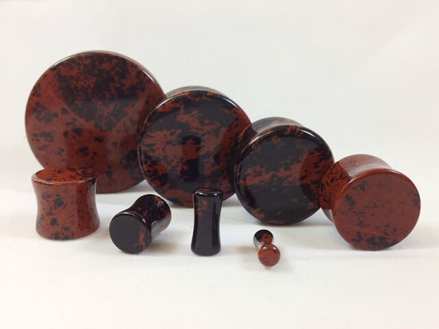 PAIR Mahogany Obsidian Organic Stone Plugs Gauges - up to 38mm available!