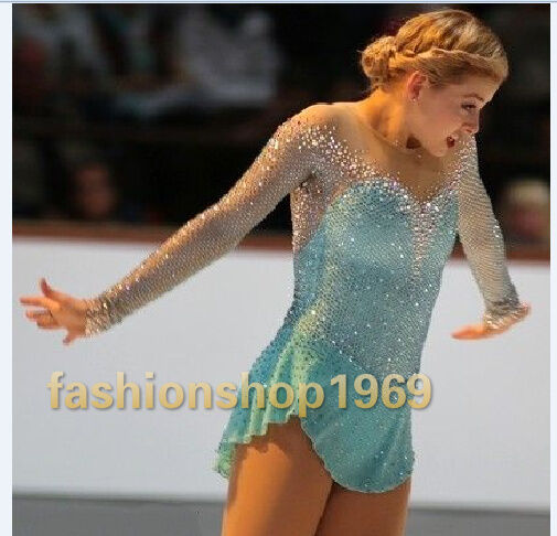 Ice Figure Skating Dress Baton Twirling Turquoise Dance Dress Competition xx282