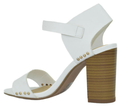 Details about  /Delicious Women Thick Chunky High Heels Ankle Strap Open Toe Studded White URKEL