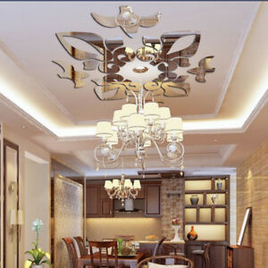 Details about Creative Abstract Acrylic Style 3D Wall Stickers Mirror  Ceiling Wall Mirrors UK