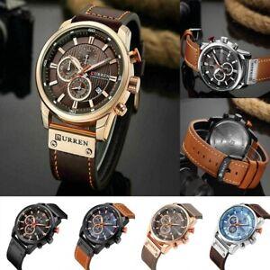 Bussiness-Herrenuhr-Armbanduhr-Analog-Quarz-Uhr-Sportuhr-Buegel-Uhren-Leder-M7W2