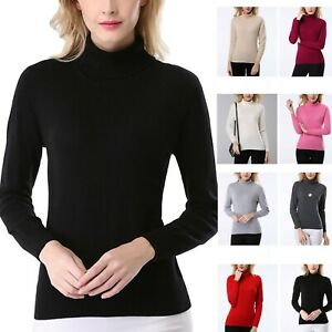 cashmere-Sweater-high-neck-wool-Pullover-Long-Sleeve-Winter-Womens-top-sz-6-14