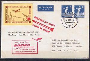 Berlin aérien ganzsache à partir de Hambourg-New york avec fusée vignette examiné-che ab Hamburg - New York mit Raketenflugvignette geprüftafficher le titre d`origine 6Sgyufcc-07152133-4779579