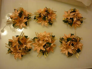 Artificial Flowers Wedding Sweet 16 Prom H1-125 Set Of 6 Candle Rings Peach