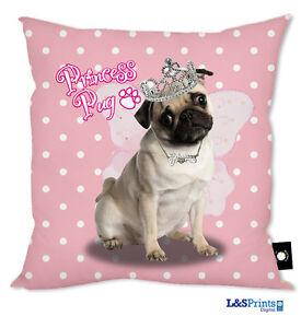 """Pink Princess Pug 18 """"x 18"""" Cuscino Grande Idea Regalo Casa Accessorio Stanza  </span>"""