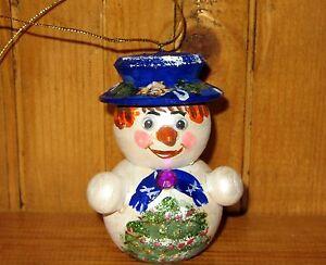 Wood-Figure-Russian-HAND-PAINTED-doll-Snowman-Christmas-Tree-Ornament-MAMAYEVA