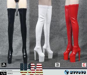 """1//6 female Knee-High black Boot for 12/"""" figure phicen kumik hot toys ❶USA❶"""