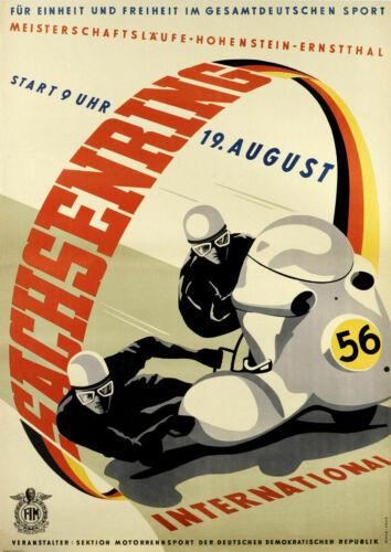 Vintage Sachsenring International motorbike race metal  poster 1956 TIN SIGN