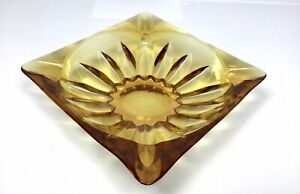 Vintage-Large-Amber-Glass-Square-Ashtray-Sun-Flower-Bottom-4-Slot-Cigarette-MCM