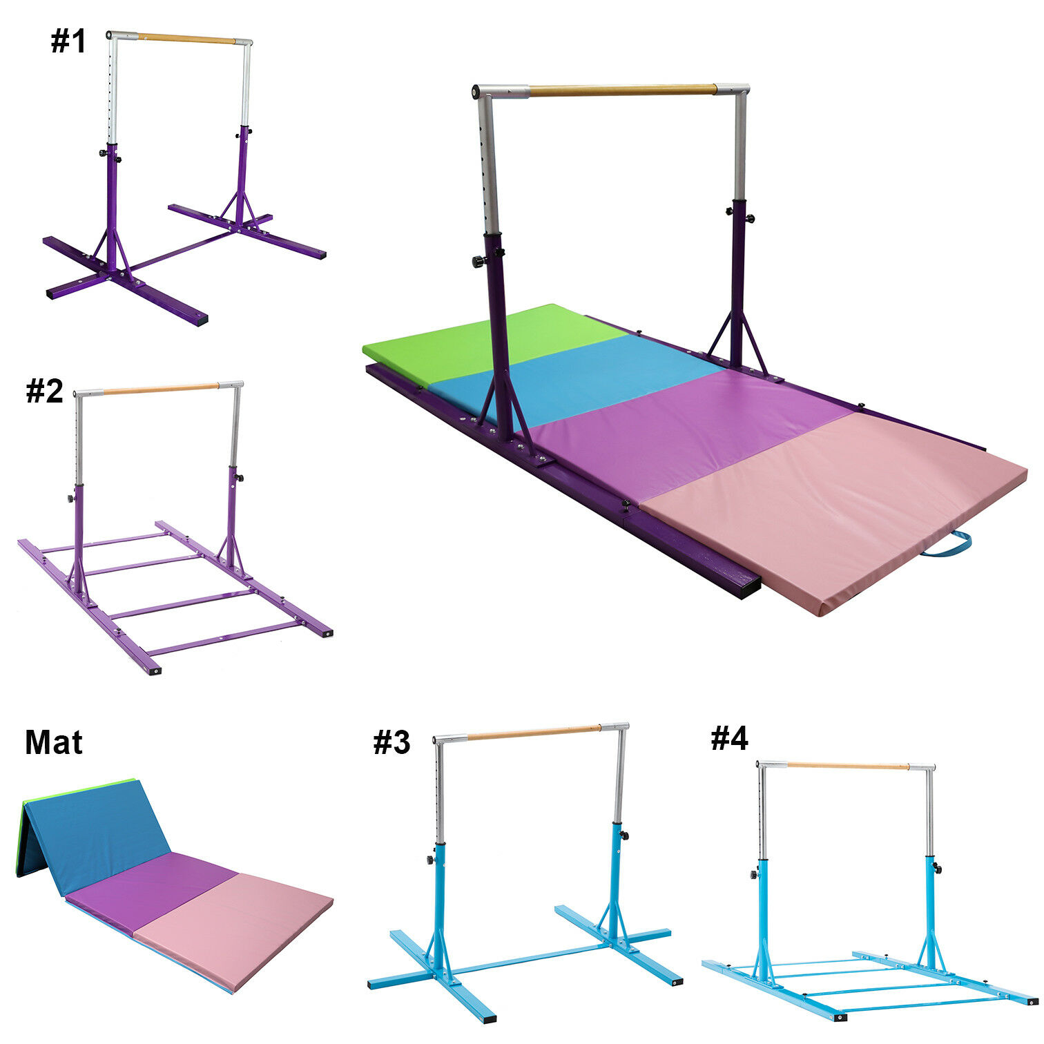 Gymnastic Bar and Mat Combo, Adjustable Horizontal Kip Bar Folding 4' x 10' Mat